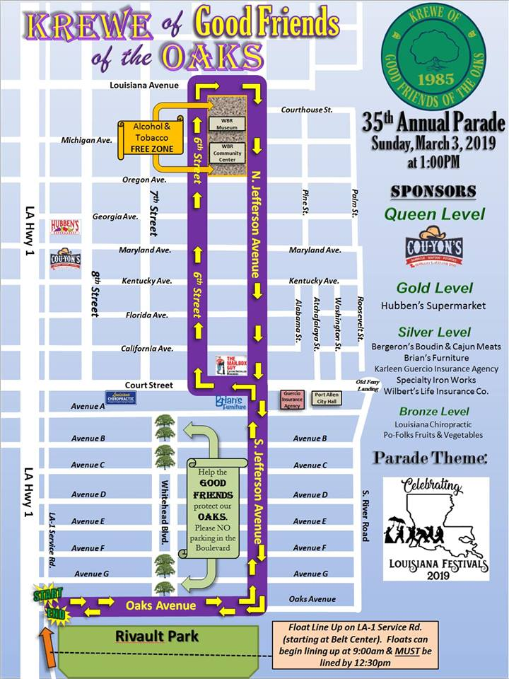 Krewe of Good Friends Mardi Gras parade route